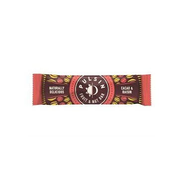 PULSIN FRUIT AND NUT BAR CACAO AND RAISIN NATURALLY DELICIOUS 35G 1ΤΜΧ