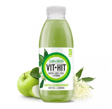 Detox Vit Hit Lean & Green Water+juice+tea+vitamins Apple + Elderflower 500ml