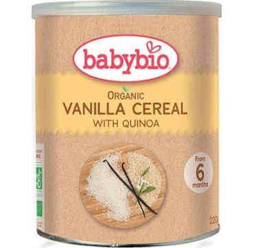 Babybio Organic First Flavour Cereals With Quinoa And Vanilla From 6 Months - Κρέμα Από Κινόα Με Βανίλια Από 6 Μηνών 220g