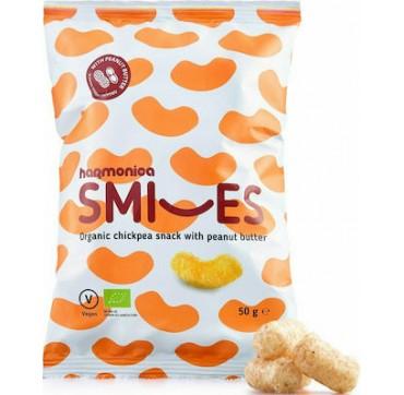 Harmonica Smiles Organic Chickpea Snack With Peanut Butter - Βιολογικό Σνακ Ρεβυθιου Με Φυστικοβούτυρο 50g