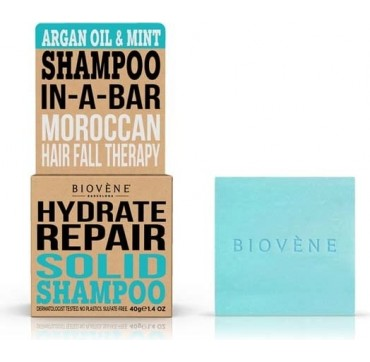 Biovene Hydrate Repair Shampoo In A Bar (solid Shampoo) Argan Oil & Mint - Σαμπουάν (στερεό) Έλαιο Αργκαν Και Μέντα 40g