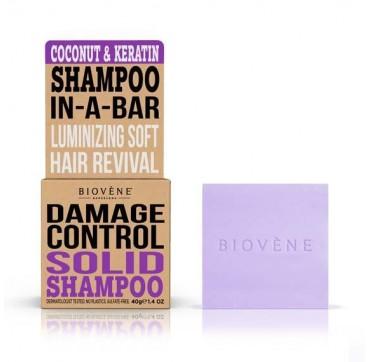 Biovene Damage Control Shampoo In A Bar (solid Shampoo) Coconut & Keratin - Σαμπουάν (στερεό) Καρύδα Και Κεράτινη 40g