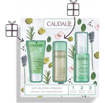 CAUDALIE VINIPURE 1,2,3 SET ANTI BLEMISH MISSION 30ML+50ML+30ML