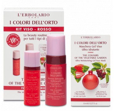 L'ERBOLARIO I COLORI DELL'ORTO KIT VISO -ROSSO FACE CREAM 50ML, REFRESHING CLEANSING MOUSSE 100ML, FACE MASK 8ML