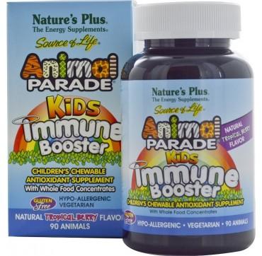 Nature' s Plus Animal Parade Kids Immune Booster, Πολυβιταμινουχα Ζελεδακια Για Παιδιά, Με Γεύση Τροπικών Φρούτων, 90 Tablets