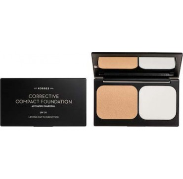 Korres Corrective Compact Foundation, Activated Charcoal, Spf 20, Lasting Matte Perfection Accf3 0.33 Oz./ 9.5g