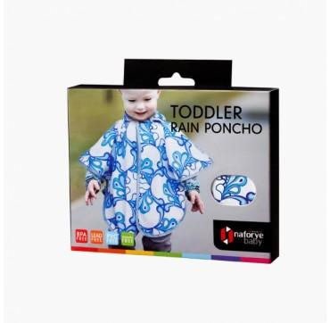 Naforye Baby - Toddler Rain Poncho 6+ Μηνών Λευκό με Μπλε Σχέδια 1τμχ