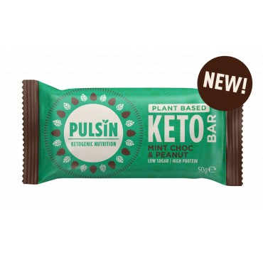 Pulsin Ketogenic Nutrition - Plant Based Keto Bar Mint Choc & Peanut 50g 1τμχ