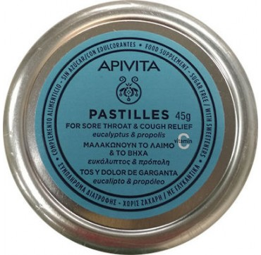 Apivita Παστίλιες Ευκάλυπτος & Πρόπολη Για Πονόλαιμο Και Βήχα Χωρίς Ζάχαρη 45g