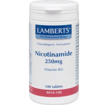 Lamberts High Strength Nicotinamide 250mg (vitamin B3) 100 Tablets 8054