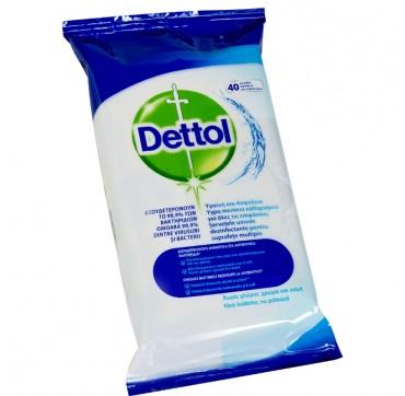 Dettol Αντιβακτηριδιακά Μαντηλάκια Καθαρισμού Επιφανειών 40τεμ