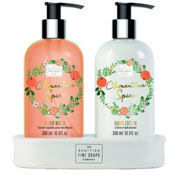The Scottish Fine Soaps Clementine Spice Hand Care Set - Hand Wash 300ml & Hand Lotion 300ml