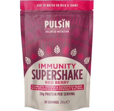 Pulsin Supershake Immunity - Plant-based Coplete Protein And Superfood Powder Wiith Vitamin C And Gut-friendly Bacteria 280g