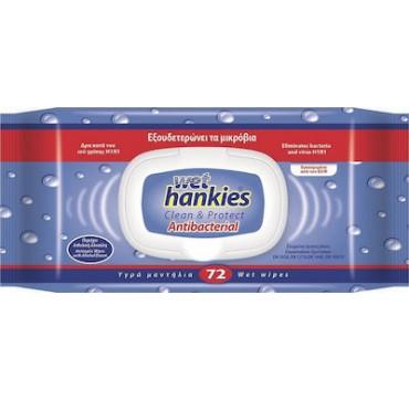 ΜΕΓΑ Wet Hankies Clean & Protect Antibacterial 72τμχ