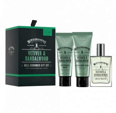 The Scottish Fine Soaps Vetiver & Sandalwood Set Eau de Toilette 50ml Hair & Body Wash 75ml & After Shave Balm 75ml