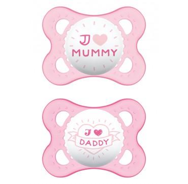 Mam Πιπίλα Σιλικόνης I Love Mommy & Daddy 0-6 Μηνών 2τεμ.
