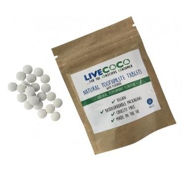 Livecoco Φυσικές Ταμπλέτες Οδοντόκρεμας Φθορίου με Γεύση Μέντα 60tabs