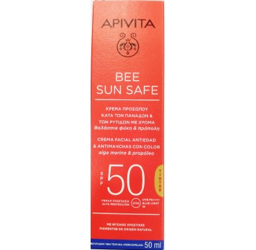 Apivita Bee Sun Safe Anti-spot & Anti-age Spf50 Defense Tinted Face Cream 50ml SPF50 50ml