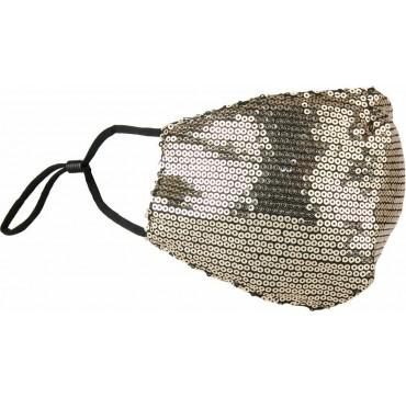 Natural Home Βαμβακερή Μάσκα με Παγιέτες & Ρυθμιζόμενο Λάστιχο Χρυσή 1τμχ