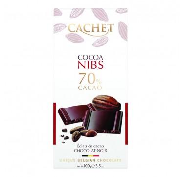 Cachet Σοκολάτα Μαύρη 70% Με Κόκκους Κακάο 100gr