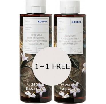 Korres 1+1 Δώρο Πακέτο Προσφοράς Renewing Body Cleanser Jasmine Αφρόλουτρο Gel Γιασεμί 2x250ml
