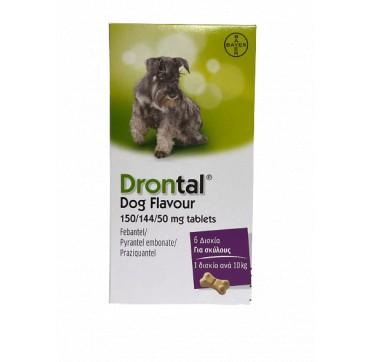 Bayer Drontal Dog Flavour 150/144/50mg Αντιπαρασιτικό Συμπλήρωμα για Σκύλους, 6tabs