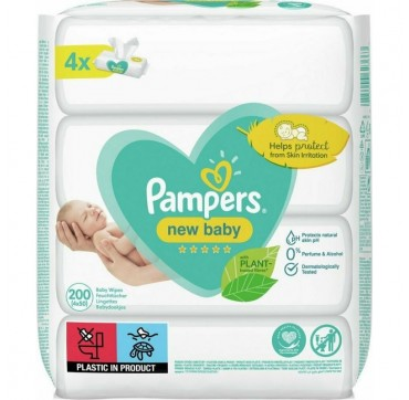 PAMPERS New Baby Wipes Μωρομάντηλα 4x50 Tεμάχια