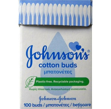 Johnson & Johnson Μπατονέτες Χωρίς Πλαστικό σε Ανακυκλώσιμη Συσκευασία 100τμχ
