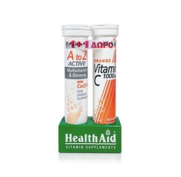 Healthaid A To Z Active Coq10 Eff. 20tabs + Δώρο Health Aid Vitamin-c 1000mg 20effer.tabs