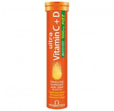 Vitabiotics Ultra Vitamin C+D Πορτοκάλι 20 αναβράζοντα δισκία