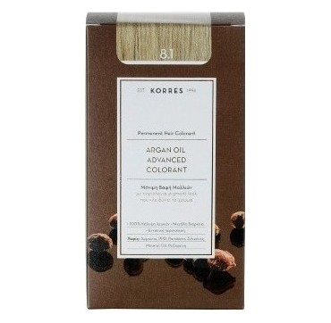 Korres Argan Oil Adv.colorant 8.1 Ξανθό Ανοιχτό Σαντρέ 145ml