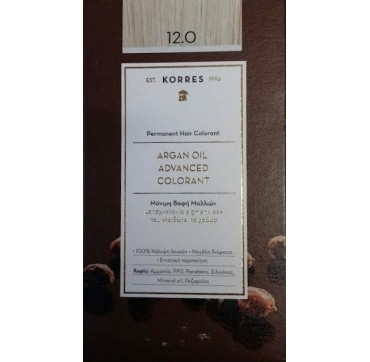 Korres Argan Oil Adv. Colorant Βαφή 12.0 Ξανθό Σπέσιαλ 145ml