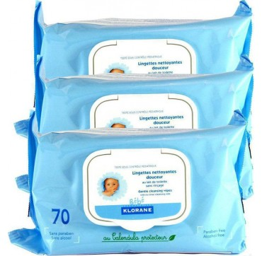 KLORANE BEBE CLEANSING WIPES 3X70τεμ