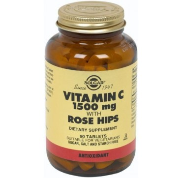 SOLGAR VITAMIN-C 1500mg WITH ROSE HIPS 90tabs