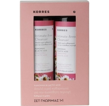 Korres Intimate Area Cleanser Απαλό Υγρό Καθαρισμού Για Την Ευαίσθητη Περιοχή (1+1 Δώρο) 2x250ml