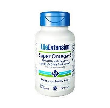 LIFE EXTENSION SUPER OMEGA 3 with EPA/DHA with Sesame Lignans Olive, 60 soft gels