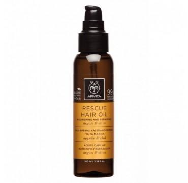 APIVITA Rescue Oil Λάδι Θρέψης & Επανόρθωσης για τα Μαλλιά με Αργκάν & Ελιά, 100ml