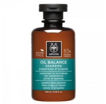 Apivita Oil Balance Σαμπουάν Για Τα Λιπαρά Μαλλιά Με Μέντα & Πρόπολη, 250ml