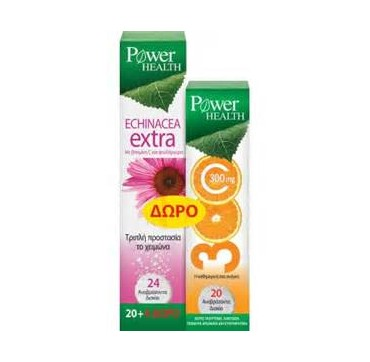 POWER HEALTH ECHINACEA EXTRA+ΔΩΡΟ VIT C 300MG 20TABS+20TABS