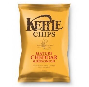 Kettle Chips Mature Cheddar & Red Onion Πατατάκια Τηγανισμένα Στο Χέρι Με Γεύση Ώριμο Τυρί Τσεντάρ & Κόκκινο Κρεμμυδι 150g