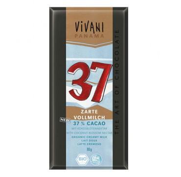 VIVANI Σοκολάτα γάλακτος 37% με κακάο Παναμά & ζάχαρη καρύδας (80γρ)