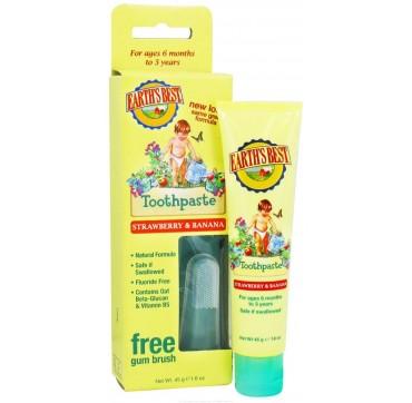 EARTH'S BEST Toothpaste Βρεφική οδοντόπαστα με φράουλα & μπανάνα 45 g