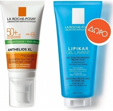 LA ROCHE-POSAY ANTHELIOS XL ANTI-SHINE DRY TOUCH GEL-CREAM SPF50+ 50ML + ΔΩΡΟ ΚΑΘΑΡΙΣΜΟΣ ΣΩΜΑΤΟΣ LIPIKAR GEL LAVANT 100ML