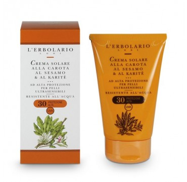 L'ERBOLARIO SUN CREAM WITH CARROT SESAME & SHEA FOR ULTRA-SENSITIVE SKIN 30SPF 125ML