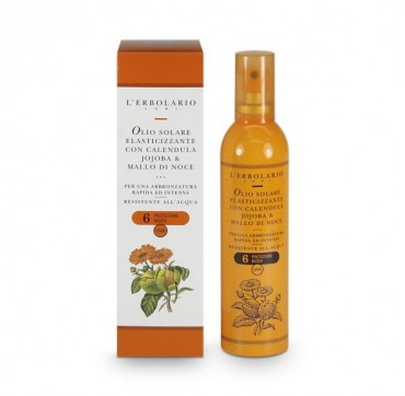 L'ERBOLARIO ELASTICISING SUN OIL WITH MARIGOLD JOJOBA & WALNUT HULL FOR INTENSE TAN LOW PROTECTION 6SPF 100ML