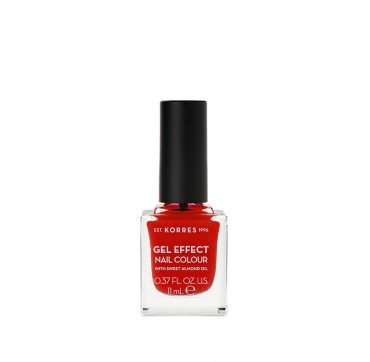 KORRES 48 CORAL RED GEL EFFECT NAIL COLOUR WITH SWEET ALMOND OIL 11ML