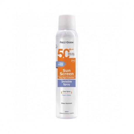 FREZYDERM SUNSCREEN INVISIBLE SPRAY SPF 50+ 200 ml (+50ml ΔΩΡΟ)