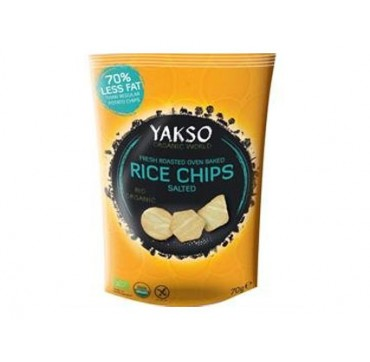 YAKSO FRESH BIO ORGANIC ROASTED OVEN BAKED RICE CHIPS SALTED WITH 70% LESS FAT ΤΣΙΠΣ ΡΥΖΙΟΥ 70G