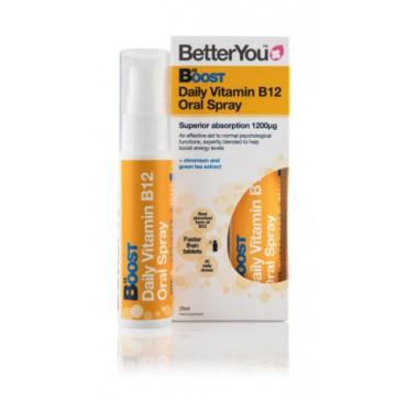 Better You B12 Boost Daily Vitamin Oral Spray Συμπλήρωμα Διατροφής 1200μg 25ml (160 Ψεκασμοί)