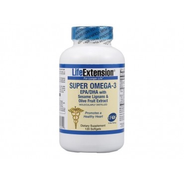 Life Extension Super Omega 3 With Epa/dha With Sesame Lignans Olive, 120 Soft Gels